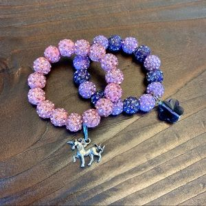 Unicorn & Flower Pink & Purple 2 Pack Bracelet Set